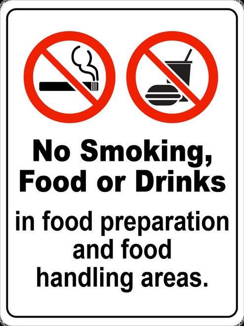 No Smoking, Food, or Drinks in Food Handling Areas Floor Sign