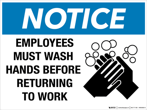 Notice: Employees Must Wash Hands Before Returning to Work - Wall Sign
