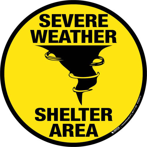 Severe Weather Shelter Area Floor Sign (Yellow)