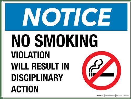 Notice: No Smoking - Disciplinary Action - Wall Sign