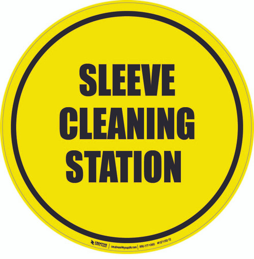 Sleeve Cleaning Station Floor Sign