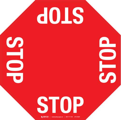4 Way Stop Floor Sign