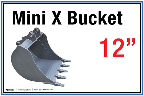 "Wall Sign: (United Rentals Logo) Mini X Bucket 12"" - 12""x18"" (Peel-and-Stick Permanent Adhesive)"