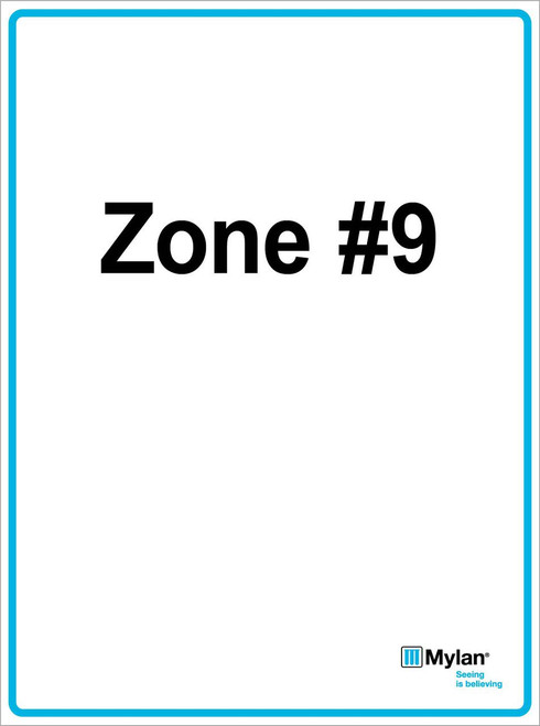 """Wall Sign: (Mylan Logo) Zone #9 15""""x20"""" (Mounted on 3mm PVC) Double Sided"""