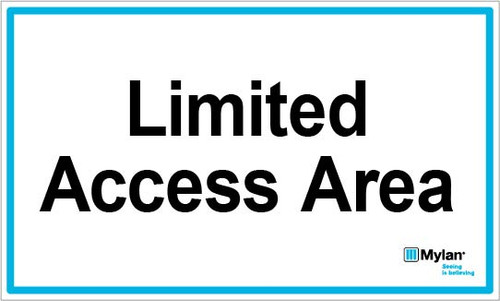"Wall Sign: (Mylan Logo) Limited Access Area 5""x8"" (Mounted on 3mm PVC)"