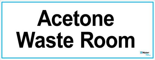 "Wall Sign: (Mylan Logo) Acetone Waste Room 8""x20"" (Mounted on 3mm PVC)"