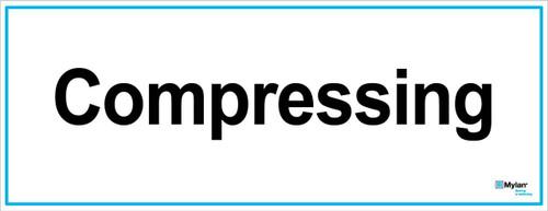 "Wall Sign: (Mylan Logo) Compressing  8""x20"" (Mounted on 3mm PVC)"