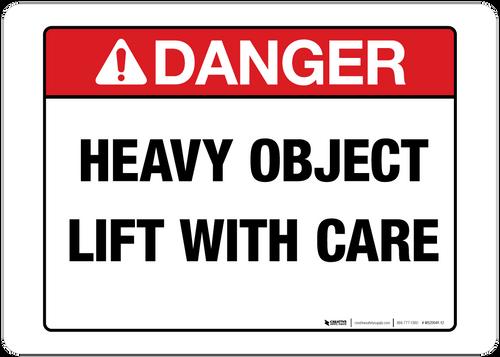 Danger Heavy Object Wall Sign