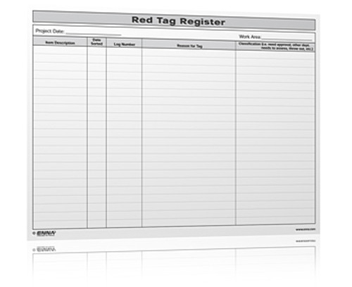 5S Red Tag Register Form