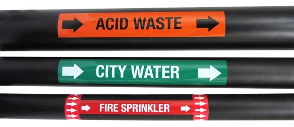 domestic water pipe marking labels