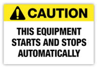 Caution - Equipment Automatic Label
