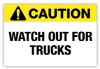 Caution - Trucks Label