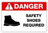 Danger - Safety Shoes Required Label