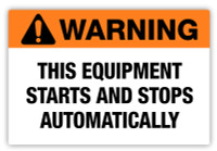Warning - Starts Automatically Label