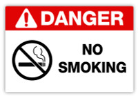 Danger - No Smoking Label