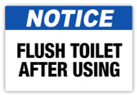 Notice - Flush Toilet Label