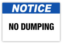 Notice - No Dumping Label