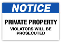 Notice - Violators Prosecuted Label