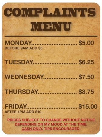 Complaints Menu Wall Sign | Creative Safety Supply