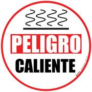 Danger Hot Floor Sign. Spanish version.