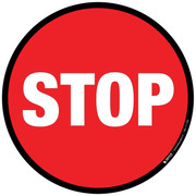 Floor sign.  Stop sign.  Round with black border.