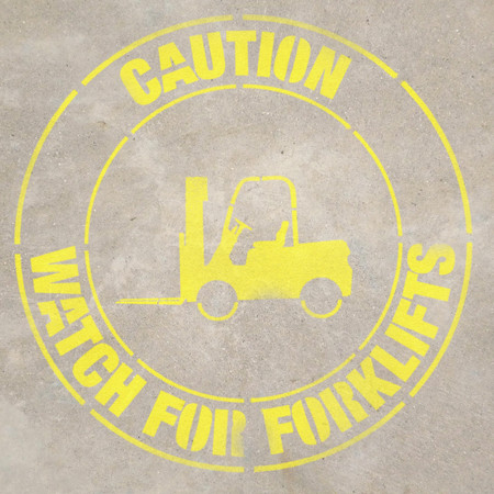 Caution Watch For Forklifts Stencil