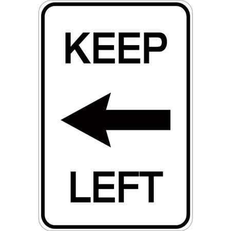 Keep Left (with arrow) - Aluminum Sign