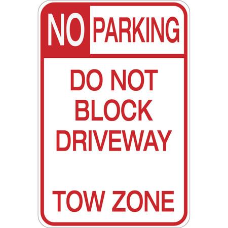 No Parking - Do Not Block Driveway - Aluminum Sign