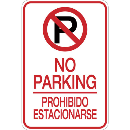Bilingual No Parking Aluminum Sign