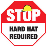 Stop - Hard Hat Required - Floor Sign
