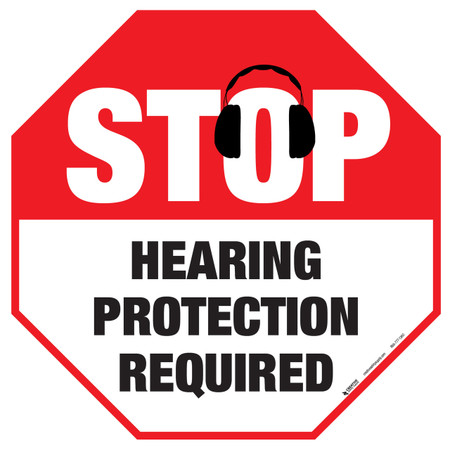 Stop - Hearing Protection Required - Floor Sign