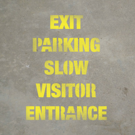 Exit, Parking, Slow, Visitor, Entrance - Stencil