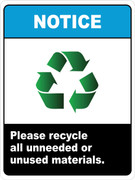 Notice - Please recycle all unneeded or unused materials