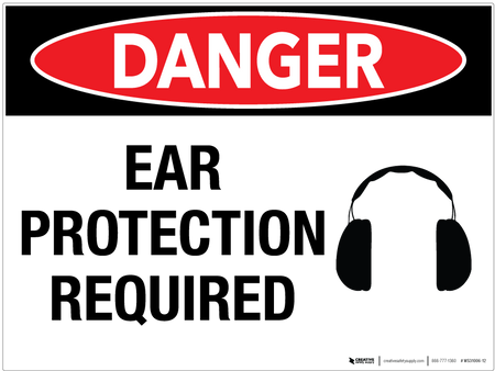 Danger: Ear Protection Required - Wall Sign