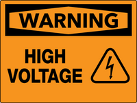 Warning High Voltage Wall Sign