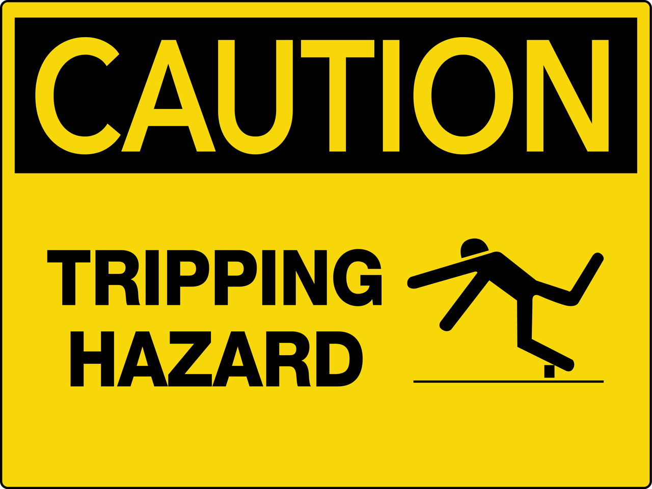 Caution Tripping Hazard Wall Sign | 1280 x 961 png 119kB