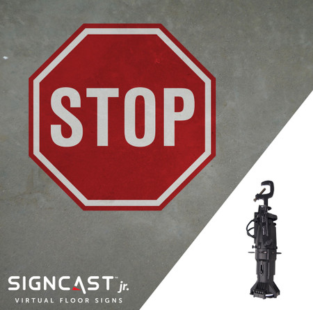 SignCast Jr. Virtual Floor Sign System with Stop Sign Pattern