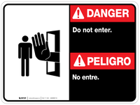 Bilingual Danger Do Not Enter Wall Sign