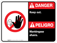 Bilingual Danger Keep Out Wall Sign