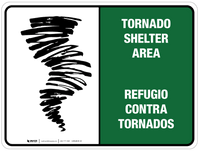 Bilingual Tornado Shelter Area Wall Sign