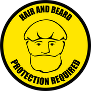 Hair and Beard Protection Required Floor Sign (Version 1)