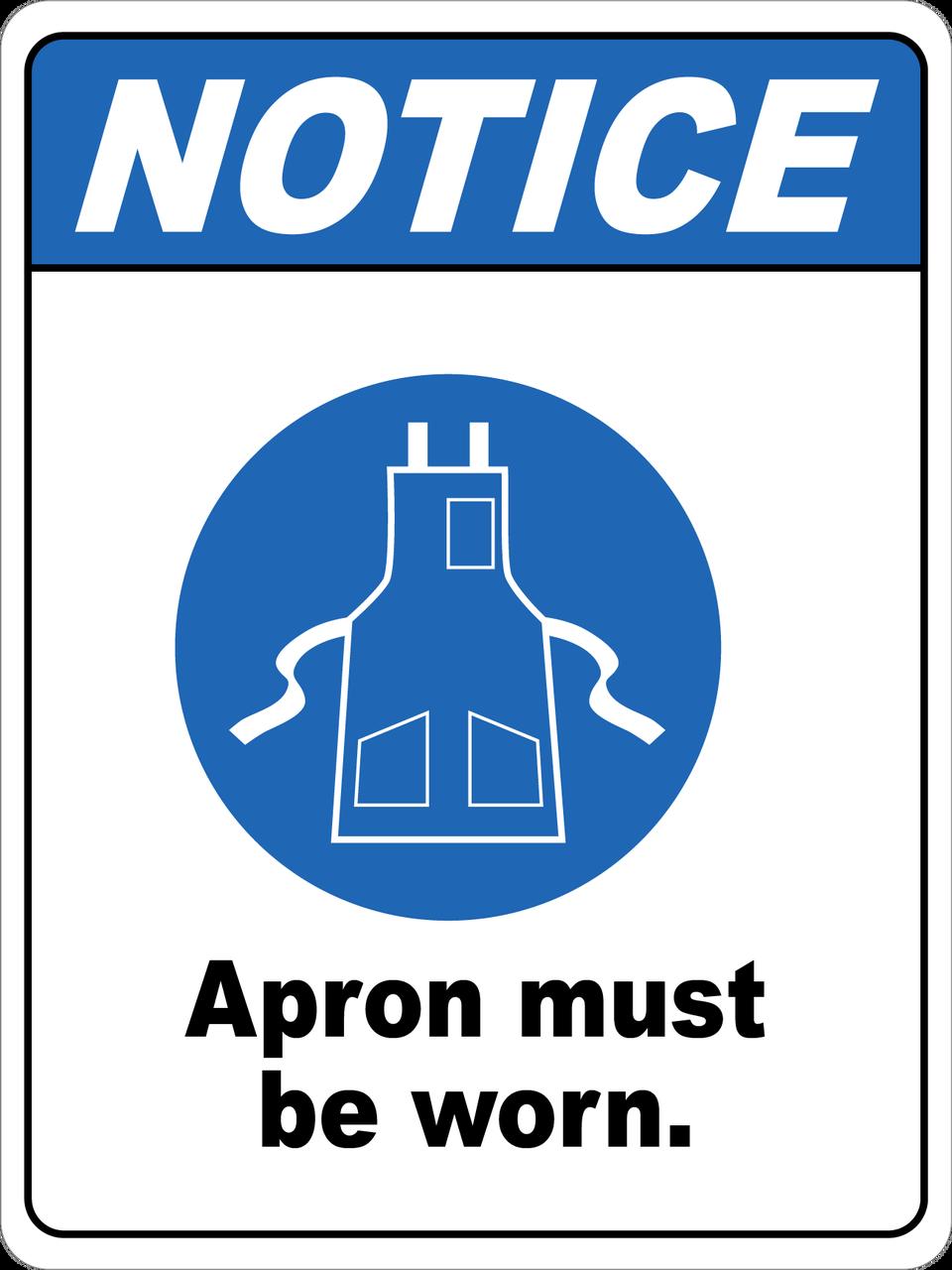 Notice Apron Must Be Worn Floor Sign