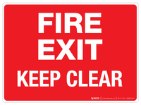 Fire Exit - Keep Clear - Wall Sign