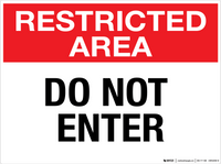 Restricted Area: Do Not Enter - Wall Sign