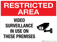 Restricted Area: Video Surveillance in Use on These Premises - Wall Sign