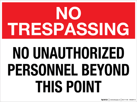 No Trespassing: No Unauthorized Personnel Beyond This Point - Wall Sign