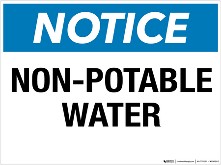 Notice: Non-Potable Water - Wall Sign