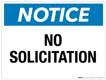 Notice: No Solicitation - Wall Sign