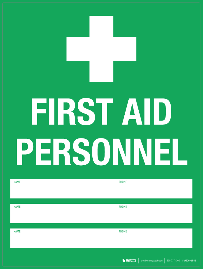 First Aid Personnel Wall Sign Creative Safety Supply