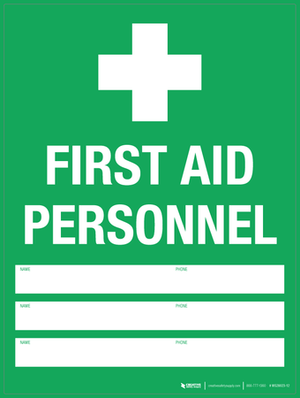 First Aid Personnel - Wall Sign